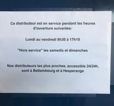 Das macht Sinn: Gerade dann, wenn man den Geldautomaten eigentlich benötigt, ist er außer Dienst!